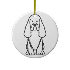 Sussex Spaniel Dog Cartoon Christmas Ornaments