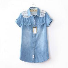 Fabric Button Retro Lace Collaged Denim Shirt