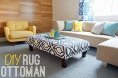 DIY Rug Ottoman -- who would have thought to use a rug to reupholster an ottoman? Awesome.