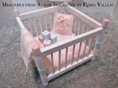 Miniature Dollhouse 1:12 Scale Shabby Chic Nursery Furniture In White With…