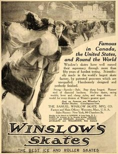 1912 Ad Antique Winslow Ice Skates Skating Rink Skaters Original ...