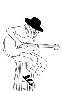 Drawing Ideas Pencil Easy Guitar New Ideas Guitar Sketch, Guitar Drawing, Easy Pencil Drawings, Outline Drawings, Music Drawings, Drawing Sketches, Drawing Ideas, Cartoon Kunst, Cartoon Art