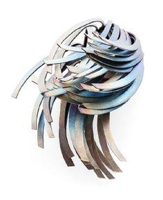 HEATHER WOOF-UK, Windswept Brooch, 2012, hand cut titanium and steel http://www.heatherwoof.com