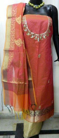 Aari work with banarsi silk fabric with banarsi silk dupatta fabric  Bottom cotton silk price 1650/pc Send inquiry or join our broadcast list on Whatsapp (9929033908) #banarsiSilk #dressMaterial