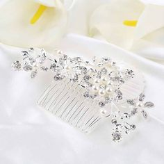 Bridal Wedding Flower Crystal Rhinestones Pearls Hair Clip Comb,Hair Pin Accessories Jewelry
