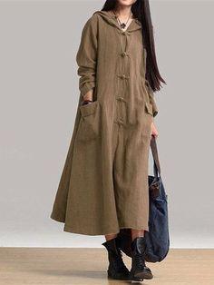 Gracila Robe Longue Style Vintage à Capuche avec Boutons Chinois Manches Longues pour Femme