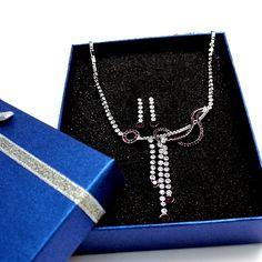 Великолепная Аметист кристалл с подарочной коробке серьги Chrome ожерелье Set NS1630A