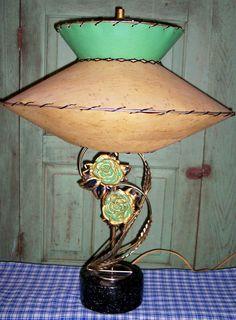 1950s fiberglass shade with roses lamp.