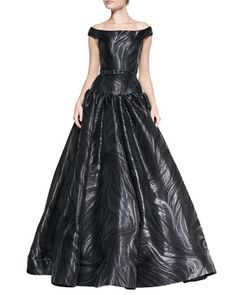 Off-Shoulder Belted Marble-Pattern Gown by Christian Siriano at Neiman Marcus.