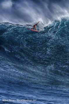 "Peahi (Jaws), Maui ~ The second most dangerous big wave in the world. ~ Miks' Pics ""Atypical Surfing Shots"" board @ http://www.pinterest.com/msmgish/atypical-surfing-shots/"