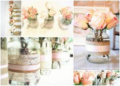 vintage shabby chic tea stained first birthday party pink roses in decorated embellished mason jars