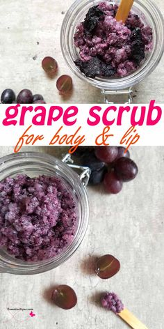 DIY sugar scrub with real grapes. Everyone loves yummy sweet black grapes for there naturally delishious taste and wonderful smell. And now a days grapes seed oil is so populer for it's health and beauty benefits.  Today we are making the sugar scrub with real grapes and grape seed oil. #sugarscrub #diyrecipe #grapeseedoil #bodycare #lipcare