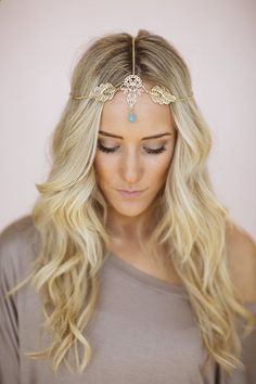 Gold Leaf Headpiece, Chain Headband, Turquoise Boho Bead, Bohemian Chain Headband, Headpiece with Turquoise Bead and Gold Accent