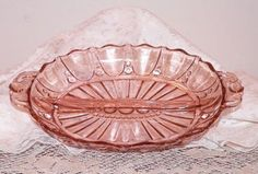 Pink Depression Glass Relish Tray