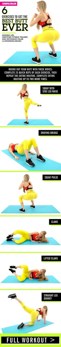 Best butt workout and butt exercise moves here! Do this workout at home or at the gym: complete 25 quick reps of each exercise, then repeat the entire routine. Complete the entire routine up to two more times. Sport Fitness, Health Fitness, Gym Fitness, Trainer Fitness, Fitness Shirts, Physical Fitness, Fitness Goals, Pilates Workout, Exercise Moves
