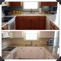 My kitchen (before & after) using Annie Sloan chalk paint. Cabinets were 1980's Oak and I used 2 coats of Old White and then 2 coats of Pure White before applying the Clear Wax.