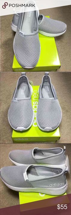 NEW ADIDAS NEO SLIP ON GREY WOMEN SHOE CHIC COMFY Women's shoes by adidas!  Very comfortable adidas neo Grey lite racer slip on shoes 8 or 9 or 10  With innovative cloud foam ultra footbed for extra comfort. Chic, comfortable, light weight! Perfect for gym, with jeans, great with or without socks! Lovely grey with breathable mesh perfect for summer Adidas Shoes Flats & Loafers
