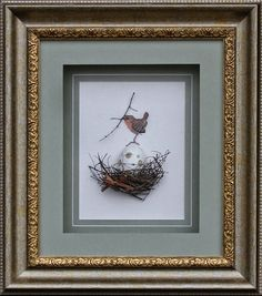 uniquely framed cross stitch birds