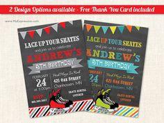 Hockey Skate Chalkboard Birthday Party Invitations - Winter Ice Skating Boy Birthday Invitations - Printable
