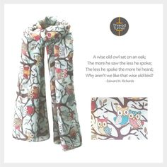 Hoot Hoot! The Thread Turner 'Owls' Scarf is here  #Scarf #PartyOwls