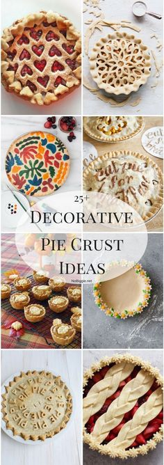 If you eat with your eyes before your mouth (like we do) you are going to love this list. We've found a fabulous list of 25 decorative pie crust ideas perfect to spruce up your next pie. No Bake Desserts, Just Desserts, Delicious Desserts, Dessert Recipes, Dessert Ideas, Baking Desserts, Pie Decoration, Decoration Patisserie, Pie Crust Designs