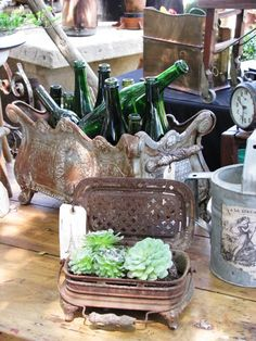 fete et fleur: A French Brocante in California ~ Welcome to The Irresistible Paris Party...love those green bottles