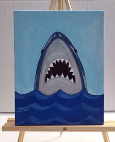 Looking for art for your kids room? This shark painting would be perfect for that beach, ocean or nautical themed boys room. This original
