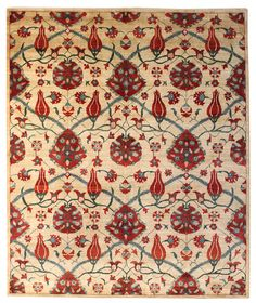 Suzani & Ikat Designs Gallery: Suzani Design Rug, Hand-Knotted in Pakistan; size: 8 feet 3 inch(es) x 9 feet 10 inch(es)