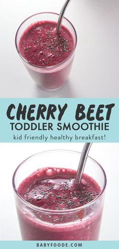 This vibrant Cherry + Beet Smoothie is a sweet way for the entire family to enjoy a healthy smoothie! Toddler (and mom) approved this smoothie is great served for breakfast, light lunch, a quick afterschool snack or even after a tough workout. Toddler Smoothies, Smoothies For Kids, Fruit Smoothies, Healthy Smoothies, Fruit Drinks, Healthy Drinks, Fruit Snacks, Healthy Kids, Fruit Party