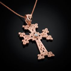 Rose Gold Armenian Cross Diamond Armenian Cross necklace...