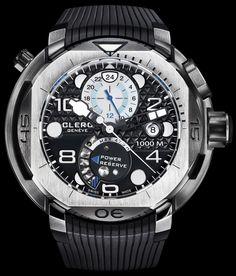 Clerc Hydroscaph Steel GMT watch