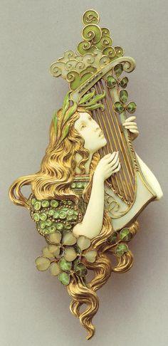 """Art Nouveau pendant """"Poésie"""" by Paul and Henri Vever, Paris, circa 1900.  Oh my... a harp too!"""
