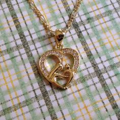 Mother's Day Gift: 18k Gold Mother & Child Heart Pendant Necklace