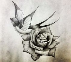 swallow and rose tattoo – Tattoo Designs Swallow Tattoo Design, Swallow Bird Tattoos, Rose Tattoos, Flower Tattoos, Tattoo Sketches, Tattoo Drawings, Rose Drawings, Sparrow Tattoo, Temp Tattoo
