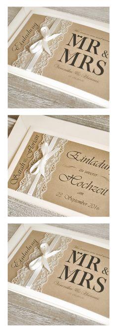 Einladungskarten zur Hochzeit - Vintage - mit Spitze & Kraftpapier - Textdruck und Umschläge möglich