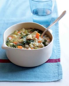 Warm up with a bowl of soup that's brimming with healthy grains and bright vegetables.