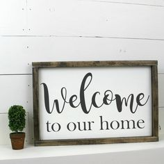 Welcome to our home Sign Wooden Wood Framed by ThePoshPearShop