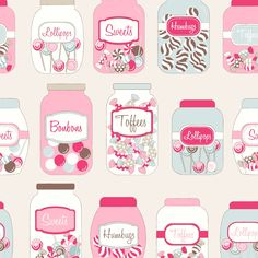 Fryett's Fabrics - Sweet Jars Multi - cotton fabric