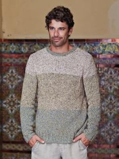 Filippe - Knit this mens colour block sweater from Rowan Knitting & Crochet Magazine 55, a design by Marie Wallin using the luxurious yarn Purelife Re...