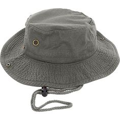 8614d3cdc79e6 Cotton Boonie Fishing Bucket Men Safari Summer String Hat Cap Colors) Gray  S M DealStock