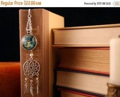 SEPT SALE Feather Bookmark Woman and Wolf Spirit Cabochon