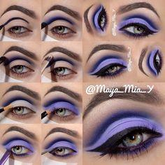 Awesome Purple Makeup by maya mia whose eye makeup tutorials are fabuloussss. Eye Makeup Blue, Purple Eyeshadow Looks, Eyeshadow Makeup, Hair Makeup, Bright Makeup, Makeup Hairstyle, Dramatic Makeup, Dramatic Eyes, Asian Makeup