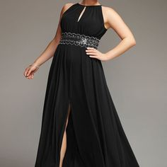 Shop plus size evening gowns and special occasion dresses like the plus size Noir Sequin Halter Gown available online at avenue.com. Avenue Store