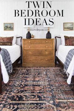 Gorgeous white farmhouse bedroom with a mix of modern and vintage. Great twin bedroom ideas for girls or guests! #maisondepax #bedroom #bedroominspo