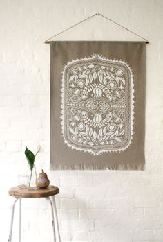 HEMP WALL-HANGING / featuring original Polish folk art design, printed onto raw…