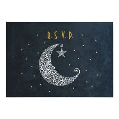 """A celestial lace moon with stars make this unique wedding rsvp card perfect for any romantic evening celebration. Easy to customize with your own text. Great for any vintage, deco, nature, outdoor, spiritual, astronomy, astrology, planetarium, lovers. Original Illustration by pj_design.  <div style=""""text-align:center;line-height:150%""""> <a href=""""http://www.zazzle.com/over_the_moon_wedding_invitation_ii-161641818369822154?rf=238287992313437617""""> <img ..."""