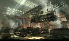 Train Factory, Hugo Puzzuoli on ArtStation at https://www.artstation.com/artwork/WdxyJ