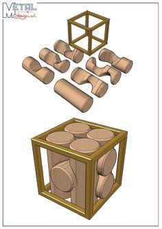 Projet de puzzle 7 pièces en bois cadre en métal (acier inox ou bronze)