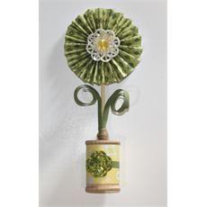paper rosette and wooden spool vase