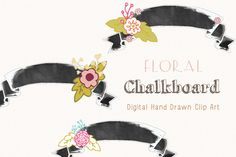 Check out Floral Chalkboard Banners by CreateTheCut on Creative Market